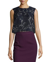 Monique Lhuillier Sculpted Crepe Shell Navy