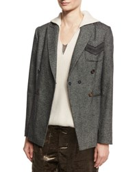 Brunello Cucinelli Double Breasted Military Jacket Onyx
