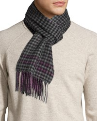 Johnstons Reversible Gingham Solid Cashmere Scarf Purple