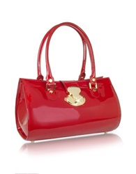 L.A.P.A. Crystal Buckle Patent Leather Barrel Bag Red