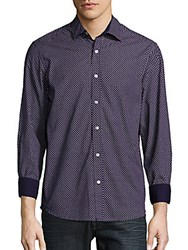 Report Collection Regular Fit Dot Print Cotton Sportshirt Navy