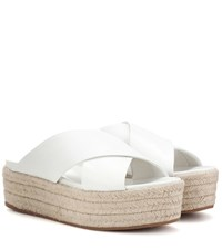Miu Miu Leather Platform Sandals White