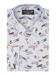 New And Lingwood Pentworth Areoplane Print Shirt Blue