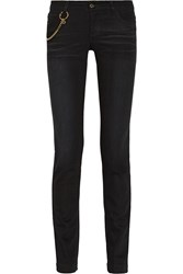 Gucci Chain Trimmed Mid Rise Skinny Jeans Black