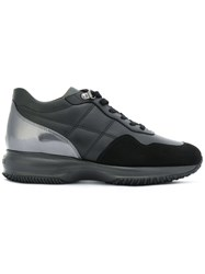 Hogan Lace Up Sneakers Leather Suede Rubber 36.5 Black