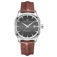 Hamilton H32451581 Men's Jazzmaster Date Leather Strap Watch Brown Charcoal