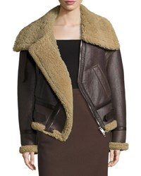 Balenciaga Off The Shoulder Shearling Bomber Jacket Brown Natural Brown Natural