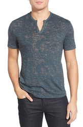 Men's John Varvatos Collection Eyelet Short Sleeve Henley Dutch Blue