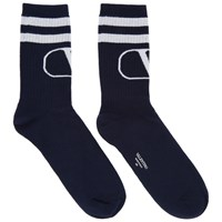 Valentino Navy And Grey Garavani Vlogo Socks