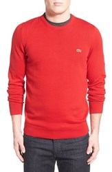 Men's Lacoste Trim Fit Crewneck Sweater Red Navy Blue
