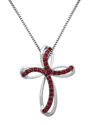 Lord And Taylor Sterling Silver And Garnet Cross Pendant Necklace Garnet Silver