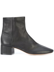 Loeffler Randall Round Toe Ankle Boots Leather Black