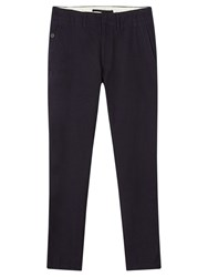 Jigsaw Wool Cotton Twill Slim Trousers Navy