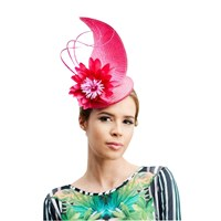 Rebecca Couture Ivy Pillbox Pointed Detail Occasion Hat Bright Pink