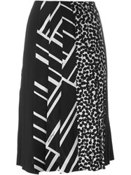 Salvatore Ferragamo Multi Print Pleated Skirt Black