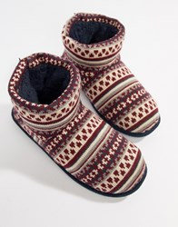 Totes Fairisle Knit Boot Slippers Navy