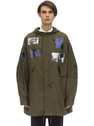 Raf Simons Hooded Mid Length Cotton Blend Parka Army Green