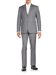 Saks Fifth Avenue Slim Fit Pinstriped Wool Suit Grey