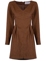 Lilly Sarti Pleat Details Dress Brown