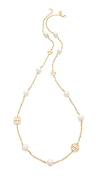 Tory Burch Evie Logo Chain Rosary Necklace Ivory Pearl Shiny Gold
