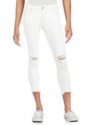 Free People Distressed Cropped Jeans White