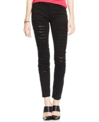 Vanilla Star Juniors' Destroyed Peekaboo Lace Skinny Jeans Black With Lace