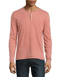 Lucky Brand Long Sleeve Cotton Henley Tee Red