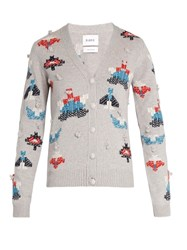 Barrie Press Play Cashmere Cardigan Grey Multi