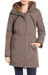 Vince Camuto Women's Cotton Canvas Anorak With Faux Fur Trim Hood Dark Taupe