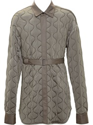 Ann Demeulemeester Long Quilted Jacket Green