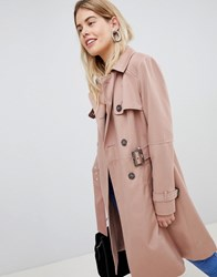 New Look Structured Mac Trench Coat Light Pink