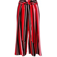 River Island Womens Red Stripe Soft Cropped Wide Leg Trousers