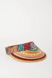 Missoni Striped Straw And Crochet Knit Visor Red