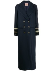 Twin Set Long Double Breasted Coat Blue