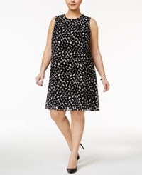 Calvin Klein Plus Size Dot Print Dress Black White
