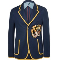 Gucci Blue Slim Fit Appliqued Cotton Blazer Navy