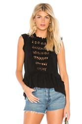 Central Park West Pink Sands Eyelet Top Black