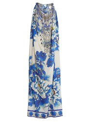 Camilla Ring Of Roses Drawstring Silk Maxi Dress Blue Print