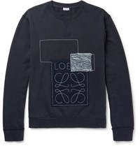 Loewe Anagram Appliqued Loopback Cotton Jersey Sweatshirt Indigo