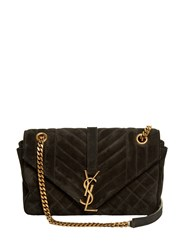 Saint Laurent Monogram Classic Quilted Suede Cross Body Bag Black