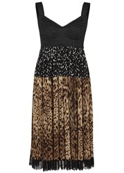 Dolce And Gabbana Polka Dot Leopard Print Chiffon Dress Multicoloured