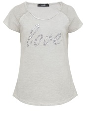 Hallhuber Cotton Jersey T Shirt With Love Slogan Light Grey