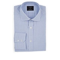 Fairfax Checked Cotton Poplin Dress Shirt Lt. Blue