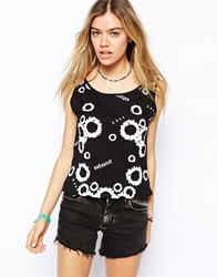 Your Eyes Lie Cropped Tank Top With All Over Sunflower Print Black