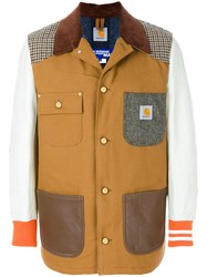 Junya Watanabe Comme Des Garcons Man Patchwork Bomber Jacket Cotton Calf Leather Acrylic Wool L Brown