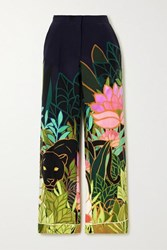 Valentino Printed Silk Crepe De Chine Wide Leg Pants Navy