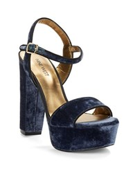 Nine West Carnation Platform Sandals Navy Blue