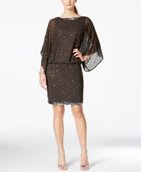 J Kara Beaded Blouson Cocktail Dress Gray