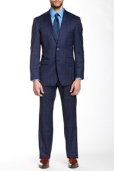 Vince Camuto Navy Windowpane Two Button Notch Lapel Modern Fit Wool Suit Blue
