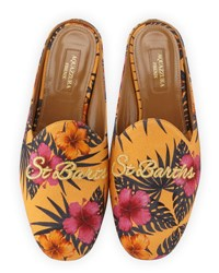 Aquazzura St. Barth's Canvas Loafer Mule Yellow Pattern